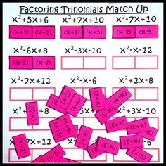 Fun interactive Factoring Trinomials activity for my Algebra students! A.10E Factor trinomials with real factors in the form ax2+bx+c, including perfect square trinomials of degree 2