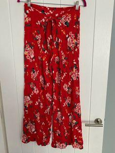 Bon Marche Red Floral Harem Trousers Size 12