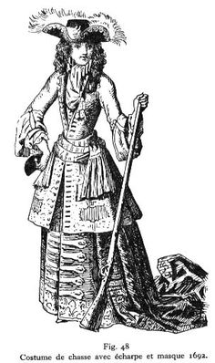 Full hunting dress and mask (in hand), 1692.