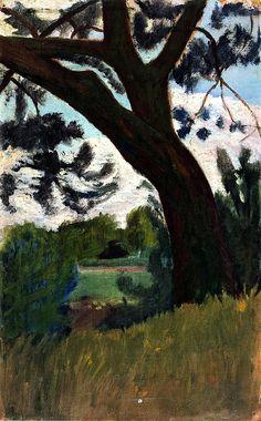 """alongtimealone: """" Landscape with Pine Paula Modersohn-Becker - 1901 (by BoFransson) """" Paula Modersohn Becker, A4 Poster, Poster Prints, Nocturne, Female Painters, Art Japonais, Vintage Artwork, Oeuvre D'art, Landscape Paintings"""