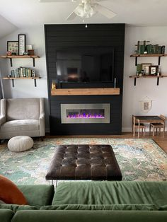 Adora Mae Fireplace Feature Wall, Living Room Decor Fireplace, Fireplace Tv Wall, Build A Fireplace, Fireplace Built Ins, Shiplap Fireplace, New Living Room, Fireplace Design, Fireplace Ideas