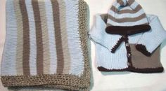 Knitted Blue Cotton with Grey Dark Brown Stripes Hand Crochet Finished with Grey Chenille Baby Cardigan Hat set and Matching Blanket Gita. $114.99