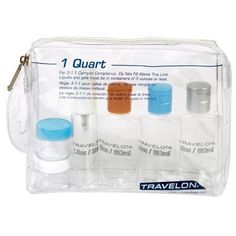 6 Piece Carry On TSA Travel Bottles Set Plastic Empty Jar Storage Container Bag, Clear Vacation Packing, Packing Tips, Vacation Checklist, Traveling Tips, Travelling, Jar Storage, Storage Containers, Carry On Toiletries, Travelon Bags