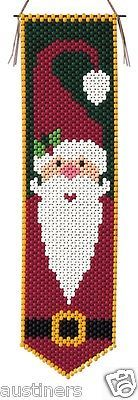 Beaded Banner Kit, Holly Jolly Santa Bell Pull Size: 6 x 23 contains all beads and accessories to make the pictured banner kit. Pony Bead Patterns, Beaded Jewelry Patterns, Peyote Patterns, Loom Patterns, Beading Patterns, Pony Bead Crafts, Beaded Crafts, Beading For Kids, Beaded Banners