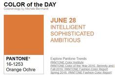 ...y el color de hoy es Naranja Ocre, un color inteligente, sofisticado, ambicioso. Más info en http://www.pyma.com/tutoriales-y-trucos/y-los-colores-pantone-de-esta-semana-sonsemana-del-27-de-junio-al-3-de-julio/