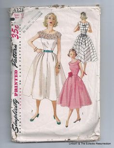 Vintage 1950s Dress Sewing Pattern Bust 30 Simplicity 4328 Cocktail Dress Party #Simplicity