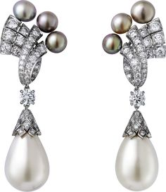 CARTIER. High Jewelry Cartier Royal earrings, platinum, natural pearls (77.44 grains and 72.16 grains), natural pearls, brilliant-cut diamonds.