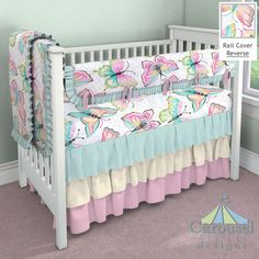 Crib bedding in Bright Damask Butterflies, Solid Seafoam Aqua, Solid Bubblegum Pink, Ivory Silk. Created using the Nursery Designer® by Carousel Designs where you mix and match from hundreds of fabrics to create your own unique baby bedding. #carouseldesigns