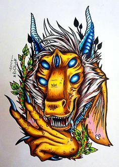 horned monster tattoo sketch