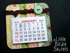 mini calendar magnets | Little Birdie Secrets and other fun tuts