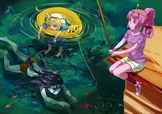 Adventure Time Marceline, Finn, Jake and Princess Bubblegum