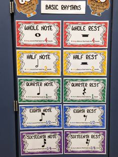 Rhythm printables for the elementary classroom - freebie rhythm chart Preschool Music, Music Activities, Physical Activities, Music Lesson Plans, Music Lessons, Music Bulletin Boards, Middle School Music, Music Worksheets, Music Education