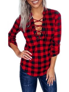 THE SARA Lace Up Long Roll Up Sleeve Womens V Neck Red & Black Plaid Shirt $38.99 FREE USA SHIPPING w/ FREESHIP21 COWGIRLS UNTAMED wholesale & retail #plaidtop #plaidshirt #red #black #outfit #women #fashion #cowgirl #sexy #vneck #laceup #longsleeve #style #springfashion #winter #cowgirlboots 3leatherboots #embroidery #floral #plaid #checked #cap #hat #western #wallet #purse #boho #purse #leather #studded #fringe #skinnyjeans #distressed #highrise #rhinestone #earrings #ring #gold #hoops…