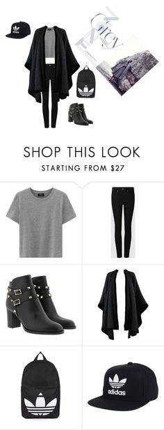 """black"" by jaykate on Polyvore featuring Yves Saint Laurent, Topshop and adidas"