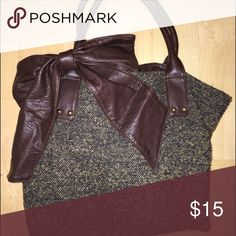 large brown and gold bag with giant leather bow bag looks super dark in picture, but is brown & gold. has a big brown leather bow & is about the size of a large binder Bags Shoulder Bags