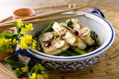 Sesame fried tofu on choy sum with ketjap manis –