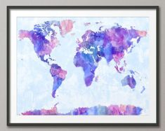 Original watercolor world map map of the world by Samarcande