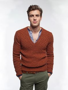 Claws and Effect Mens V Neck Sweater (Digital Download) knitted in Rowan Lima from What Do You Become At Night by Josh Bennett. | English Yarns