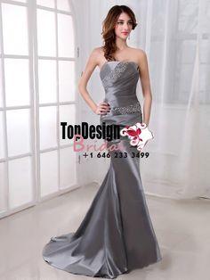 Wholesale Vestidos De Fiesta 2017 Brand New Evening Party Gown Trumpet/Mermaid Grey Satin Prom Dresses