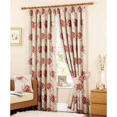 Floral Tapestry Pencil Pleat Lined Curtains, Red Ready Made Eyelet Curtains, Pleated Curtains, Red Curtains, Queen Sheets, Bed Sheets, Extra Wide Curtains, Curtain Store, Red Pencil, Pencil Pleat
