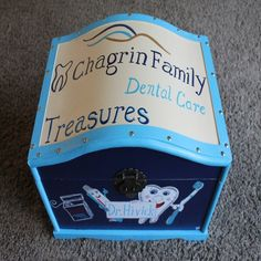 Dentist Office Kid's Treasure Box Hand Painted Blue with Teeth, Personalized Treasure Chest, Toy Box, Treasure Trunk Treasure Boxes, Treasure Chest, Toy Trunk, Doctor Office, Vintage Marketplace, Toy Boxes, Dental Care, Toy Chest, Trunks