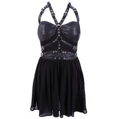 Harness Black Gothic Dress by Restyle ($74) ❤ liked on Polyvore featuring dresses, short dresses, gothic lolita dress, mini dress, gothic dresses and gothic mini dress