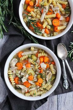 Healthy & Comforting Chicken noodle soup -- perfect for when you have a cold! All the work is done in the slow cooker!