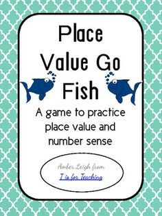 Place Value Go Fish is a fabulous math center for math tubs.Students love the game of Go Fish especially when its paired with practicing their knowledge of place value! This game can be continuously reused and takes quite a while to get old. A worksheet is also included if you would like to hold your students accountable for work.