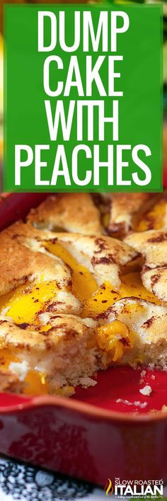 Dump cake with peaches is the best way to enjoy summer fruit. Make this cake recipe for dessert or a potluck! #DumpCake #Peaches #SimpleDessert