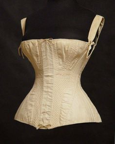 1830's corded corset/stays. Note how wide set the shoulder straps are.