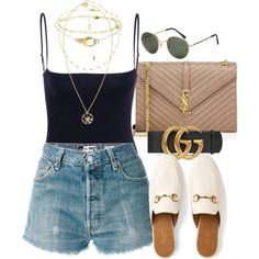 A fashion look from July 2017 featuring RE/DONE shorts, Yves Saint Laurent shoulder bags and Versace necklaces. Browse and shop related looks.