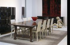 Spanish Parquetry table with Wrought Iron Base - French oak - French polish finish