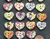 20 Painted Wood Buttons Floral Design Assortment 15mm Heart Shaped B154
