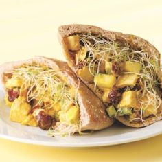 Cranberries and pear are sweet counterpoints in this tangy curried chicken salad. Toasted sliced almonds add a nutty crunch.