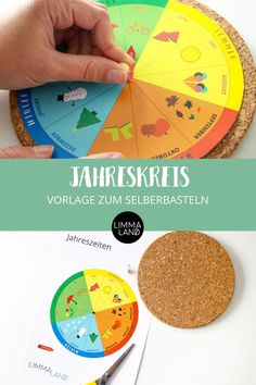 """""""Was kommt nach Sommer?"""" Und """"was kommt nach Winter?"""" Die Jahreszeiten erklären und Jahreszeiten lernen möchte jedes Kind. Dazu könnt ihr euch einen schönen Jahreskreis selber basteln. Unsere Bastelvorlage bekommt ihr KOSTENLOS! Ihr müsst euch nur einen HEAT Korkuntersetzer bei IKEA besorgen und los geht das Jahreszeiten lernen! Viel Spaß! www.limmaland.com #limmaland #kinderzimmer #ikeahacks #lernenmitkindern"""