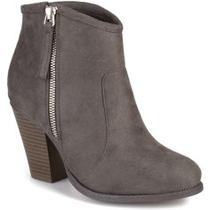 Journee Collection Women's 'Link' High Heel Faux Suede Ankle Booties ($51) ❤ liked on Polyvore featuring shoes, boots, ankle booties, grey, chunky platform boots, high heel boots, chunky-heel ankle boots, gray ankle boots and grey boots