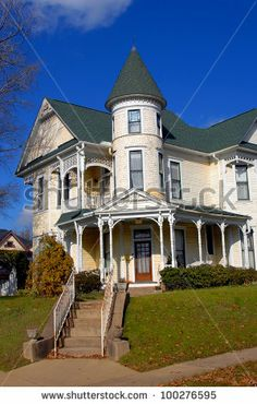 Gorgeous Victorian home has round turret and three stories.  Home is located in Texarkana, Arkansas. by Bonita R. Cheshier, via Shutterstock...