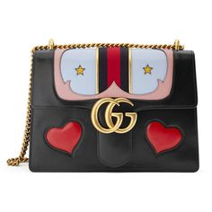 Gucci Gg Marmont Leather Shoulder Bag (10,875 SAR) ❤ liked on Polyvore featuring bags, handbags, shoulder bags, women, handbags shoulder bags, western purses, leather man bags, chain shoulder bag and purse shoulder bag
