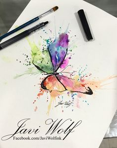 Watercolor paintings, watercolor tattoo и watercolor art. Butterfly Painting, Butterfly Watercolor, Butterfly Art, Watercolor Animals, Watercolor Cards, Watercolour Painting, Painting & Drawing, Butterflies, Watercolors