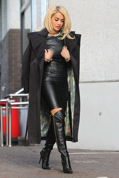 Rita Ora in all black, leather from head to toe!