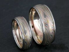 Mokume Gane Wedding Bands by James Binnion - Call or email The Jewelbox in Ithaca, NY for more information: Wedding Sets, Wedding Bands, Pattern Making, Metal Art, Handcrafted Jewelry, Bridal Jewelry, Jewelry Crafts, Rings For Men, Local Stores