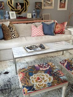schumacher fabric on stools    photo-176 by jamie meares, via Flickr