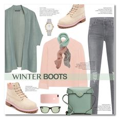 """""""winter boots"""" by limass ❤ liked on Polyvore featuring Violeta by Mango, iHeart, 7 For All Mankind, Tak Ori, Timberland, Ray-Ban, MANU Atelier and winterboots"""