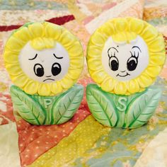 Anthropomorphic Sunflower Girls Salt and Pepper by BobsGoodJunk