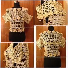Blusa em crochet com abertura lateral e mangas abertas no ombro, em fio bege e dourado importado de Lisboa,PT.