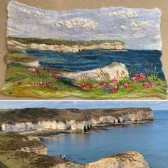"""#textiles artist Lynn Comley UpandDownDale latest work, entirely wet felted with free motion machine embroidery and hand stitching.  """"This is one of my favourite beaches to visit on a sunny day, the contrast of the chalky white cliffs against the blue sea is lovely. I don't often walk on the beach here but prefer instead to walk along the cliffs, it's so pretty especially when the sea thrift is in flower""""🌸. Follow Lynn on Instagram as UpandDownDale Peak District, My Roots, Beach Walk, Mixed Media Artists, North Yorkshire, Textile Artists, Hand Stitching, Sunny Days, Thrifting"""