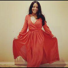 Dresses | Nwt Burnt Orange Double Slit Maxi Dress | Poshmark Maxi Dress With Slit, Wrap Dress, Burnt Orange Bridesmaid Dresses, Boutique Maxi Dresses, Stretch Fabric, Orange Color, Burns, Thighs, Long Sleeve