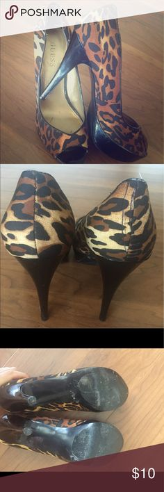 Guess Brand Animal print. platform stiletto heels! Size 8 super fun animal heels that adds flair to any outfit! Guess Shoes Heels