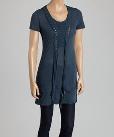 Long short-sleeved blouse, or with my petite stature, it could be worn as a dress. #Tops #Dresses #womensfashion