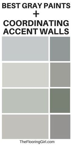 Best gray paints and coordinating accent wall. Best shades of gray.  #gray #paint #graypaint #homedecor #accentwall #greige #shades